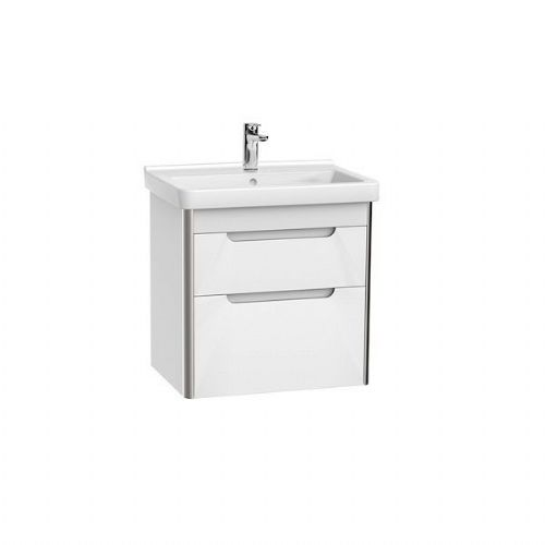 Roca Dama-N 2 Drawer Wall Hung Vanity Unit & Basin 650mm x 585mm 1 Tap Hole White